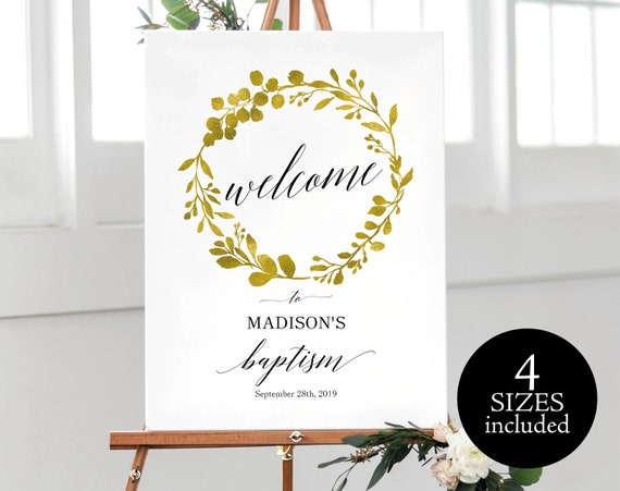 Faux Gold Baptism Sign Template, Baptism Welcome, Wecome to the Baptism of, Printable Baptism Sign Template, PDF Instant Download, MM07-3