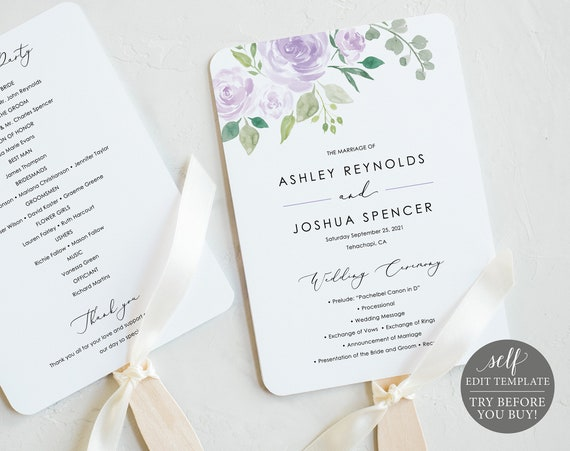 Wedding Program Fan Template, TRY BEFORE You BUY, Editable Instant Download, Mauve & Lilac Floral