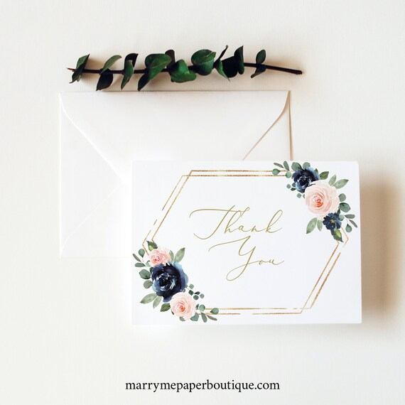 Thank You Card Template, Navy & Blush Floral, Folding Thank You Card, Printable, Editable, Templett INSTANT Download