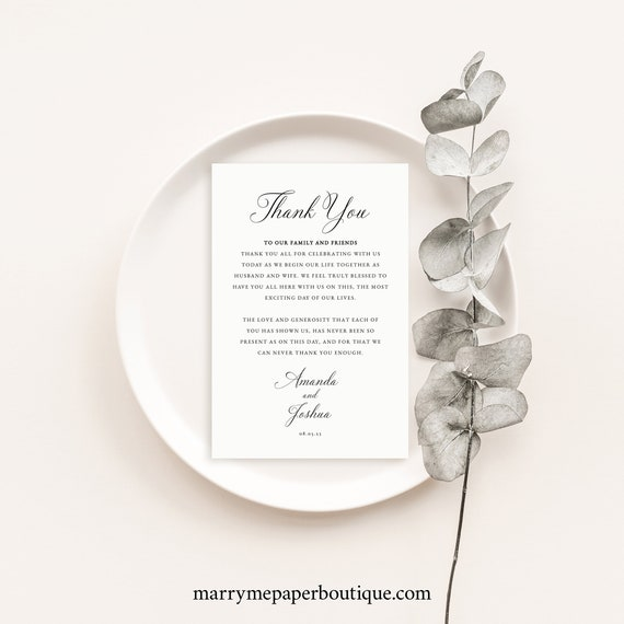 Thank You Letter Template, Traditional Wedding, Calligraphy, Wedding Thank You Note, Templett INSTANT Download, Printable, Editable