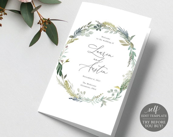 Catholic Wedding Program Template, Fold, 100% Editable Instant Download, Greenery, TRY BEFORE You BUY