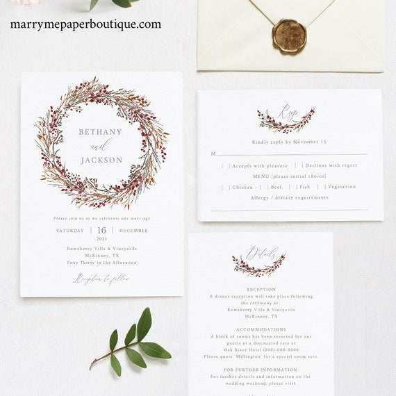 Winter Wedding Invitation Template Set, TRY BEFORE You BUY,  Editable Invitation Printable, Instant Download