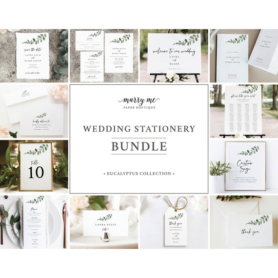Eucalyptus Wedding Bundle Template Set, Greenery Wedding Stationery Bundle Printables, Templett Instant Download, Try Before Purchase