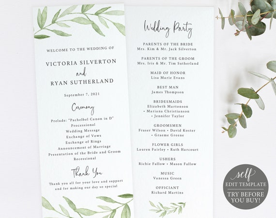 Wedding Program Template, TRY BEFORE You BUY, Editable Instant Download, Greenery Leaves