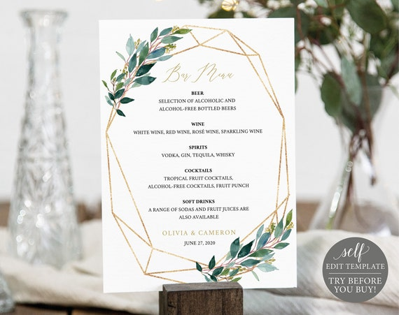 Bar Menu Template, TRY BEFORE You BUY, Editable Instant Download, Greenery Geometric