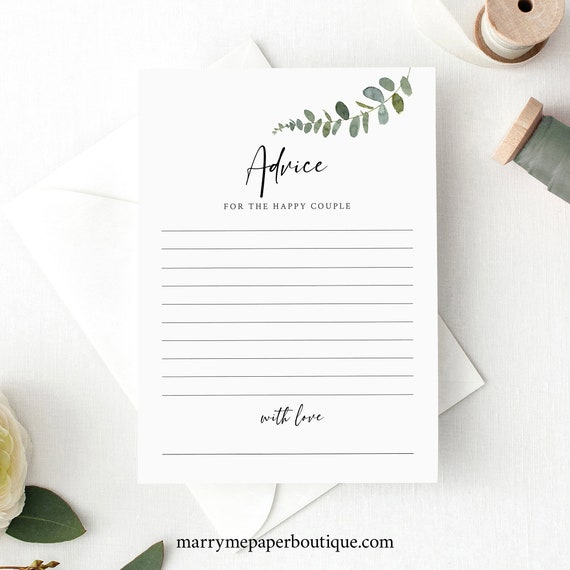 Eucalyptus Advice Card Template, Greenery Wedding, Templett, Editable, Printable Advice Card, INSTANT Download