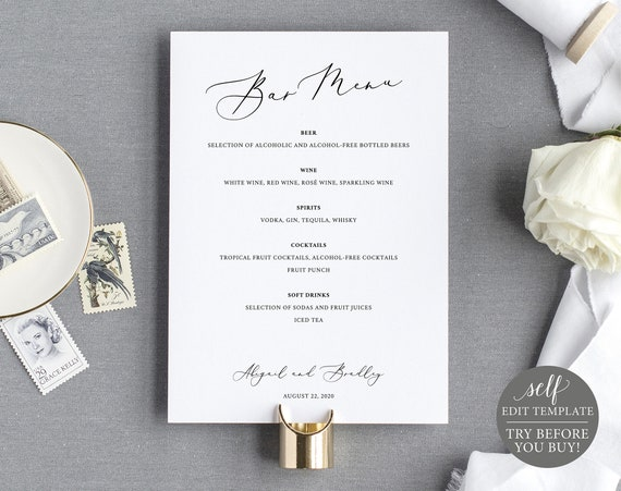 Bar Menu Template, 5x7 Elegant Script, TRY BEFORE You BUY, Fully Editable Instant Download
