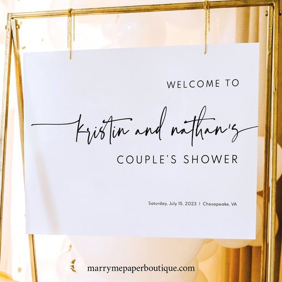 Couples Shower Welcome Sign Template, Modern & Contemporary, Shower Welcome Sign, Simple, Printable, Editable, Templett INSTANT Download