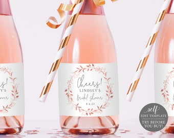 Mini Champagne Label Template, Order Edit & Download In Minutes, Try Before Purchase, Rose Gold Wreath