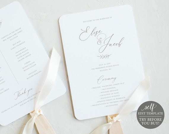 Wedding Program Fan Template, FREE Demo Available, Editable Instant Download, Elegant Font