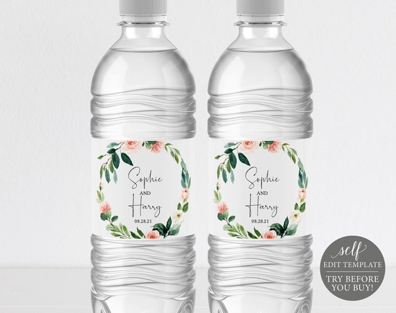 Water Bottle Label Template, Floral Greenery, TRY BEFORE You BUY, Editable Instant Download