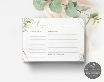 Recipe Card Template, TRY BEFORE You Buy, Editable & Printable Instant Download, Templett, Greenery Hexagonal