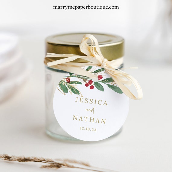 Winter Wedding Round Wedding Favor Tag Template, Christmas Gift Tag Printable, Fully Editable, Templett, Instant Download