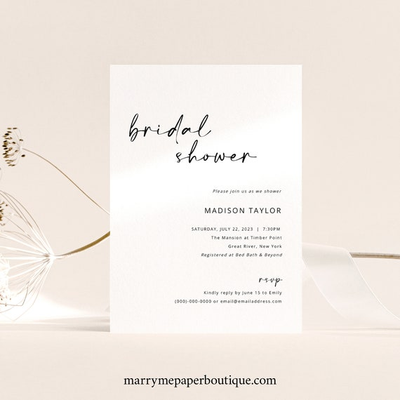 Bridal Shower Invitation Template, Handwritten Style, Modern Minimalist Bridal Shower Invite, Printable, Editable, Templett INSTANT Download