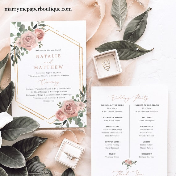 Wedding Program Template, Dusky Pink Floral, Wedding Ceremony Program, Printable, Editable, Templett INSTANT Download