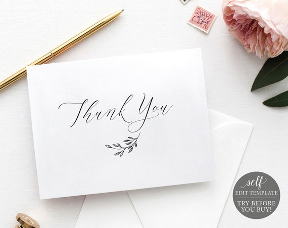Thank You Card Template, Delicate Script Folded, Editable Instant Download, FREE Demo Available