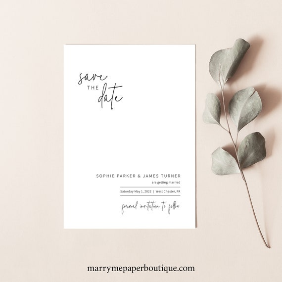 Save the Date Card Template, Minimalist Elegant, Editable & Printable Instant Download, Try Before Purchase