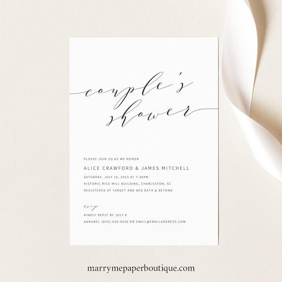 Elegant Couples Shower Invitation Template, Modern Shower Invite Printable, INSTANT Download, Editable, Templett