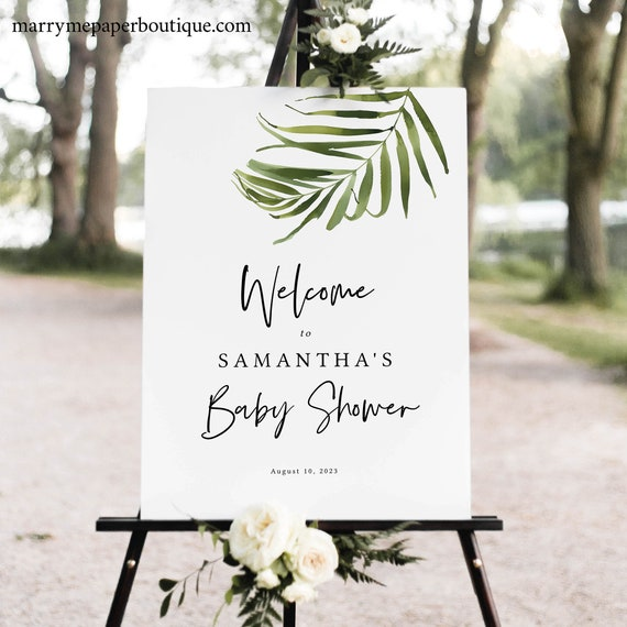 Tropical Baby Shower Welcome Sign Template, Greenery Baby Shower Sign Printable, Templett, Editable, Instant Download
