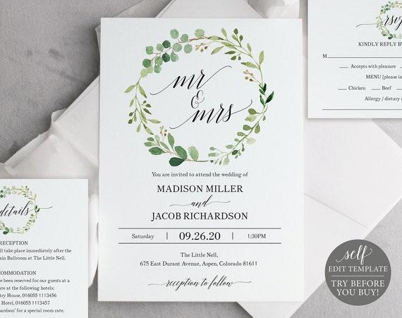 Greenery Wedding Invitation Set, Invitation Template, Printable Wedding Invitation, Editable Invitation, Instant Download