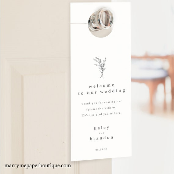 Wedding Door Hanger Template, Modern Rustic, Door Hanger Printable, Fully Editable, Templett INSTANT Download
