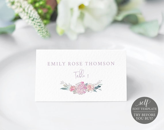 Place Card Template, Pink & Lilac Floral, Templett, Editable Printable Instant Download, TRY BEFORE You Buy