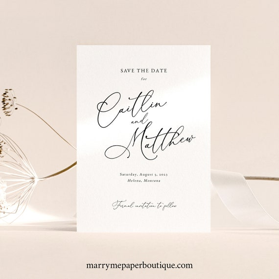 Calligraphy Save the Date Card Template, Elegant Wedding, Save Our Date, Printable, Editable, Templett INSTANT Download