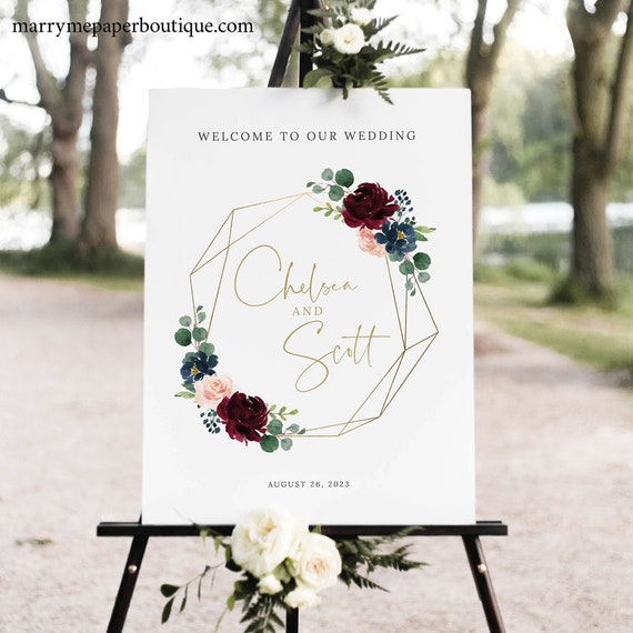 Burgundy Wedding Welcome Sign Template, Printable Wedding Sign, Editable, Templett, Geometric, Navy, INSTANT Download