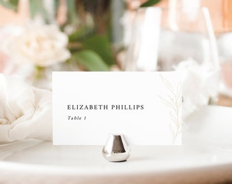 Wedding Place Card Template, Botanic Calligraphy, Tent & Flat Versions, Printable, Editable, Gold Leaf, Templett INSTANT Download