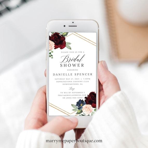 Bridal Shower Text Invite, Burgundy Navy, Editable Electronic Invitation, Instant Download, Templett