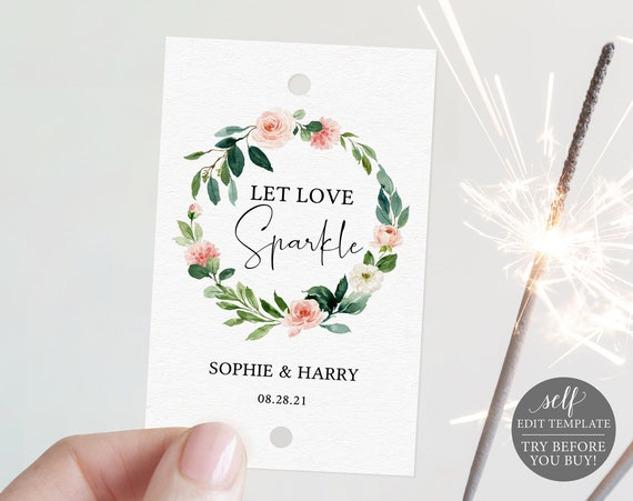 Sparkler Tag Template, Floral Greenery, Editable Instant Download, TRY BEFORE You BUY