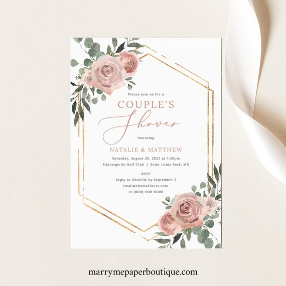 Couples Shower Invitation Template, Dusky Pink Floral, Printable Couples Shower Invite, Editable, Templett INSTANT Download