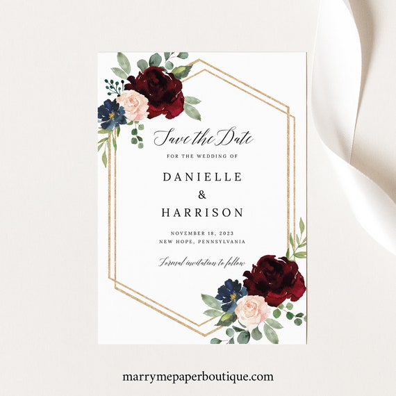 Save the Date Card Template, Burgundy Navy, Printable, Save Our Date, INSTANT Download, Templett, Editable