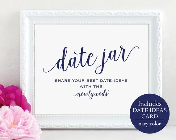 Navy Date Jar Sign Template, Navy Date Jar Card Template, Newlyweds, Printable Date Jar Wedding Sign, Navy, PDF Instant Download, MM01-4