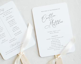 Calligraphy Wedding Program Fan Template, Elegant Wedding Fan Program Printable, Fully Editable, Templett INSTANT Download