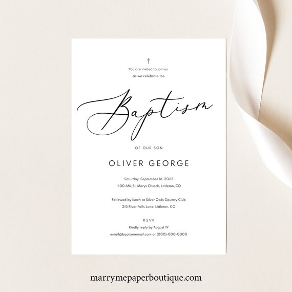 Baptism Invitation Template, TRY BEFORE You BUY, Printable Baptism Invite, Calligraphy,  Editable, Instant Download