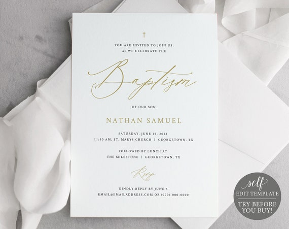 Gold Baptism Invitation Template, Free Demo Available, 5x7, Editable Instant Download