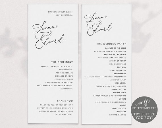 Wedding Program Template, Minimalist Portrait, Templett, Editable & Printable Instant Download