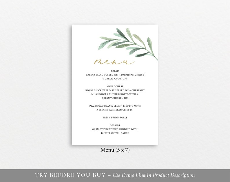 Greenery Leaf TRY BEFORE You BUY Editable Instant Download Baptism Menu Template 5x7