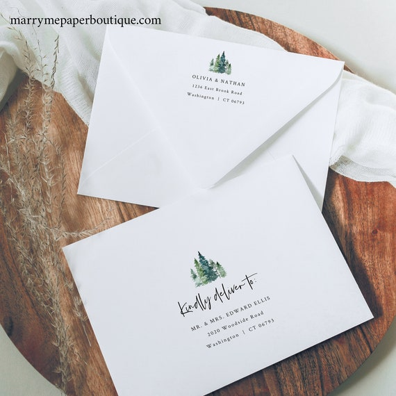 Pine Forest Envelope Address Template, Rustic Pine Trees, Printable Envelope Address, Templett Editable, INSTANT Download