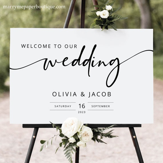 Welcome To Our Wedding Sign, Modern Calligraphy, Wedding Welcome Sign Template, Printable, Landscape, Templett INSTANT Download, Editable