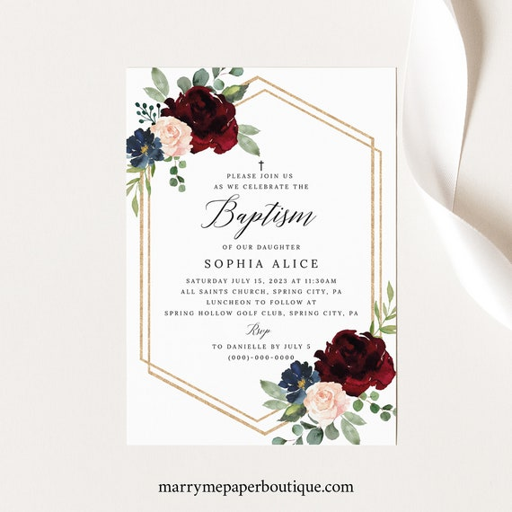 Baptism Invitation Template, Burgundy Navy, Templett Demo Available, Editable & Printable Instant Download