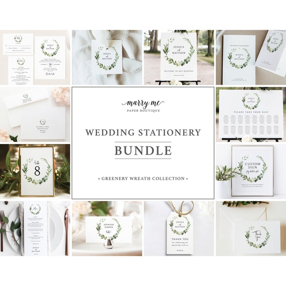Wedding Template Bundle, Elegant Greenery, Templett Instant Download, Wedding Bundle Templates, Wedding Template Kit, Demo Available