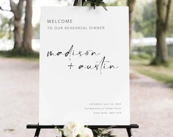 Rehearsal Dinner Welcome Sign Template, Modern Minimalist, Rehearsal Dinner Sign, Printable, Editable, Portrait, Templett INSTANT Download