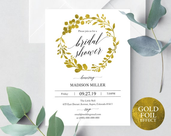 Faux Gold Wedding Bridal Shower Invitation Template, Gold Wedding Shower, Printable Bridal Shower Invite Gold, PDF Instant Download, MM07-3