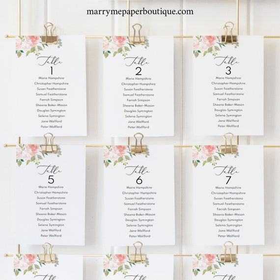 Printable Seating Cards Template, Floral Wedding, Floral Seating Chart Template, Floral Seating Plan Template, Instant Download