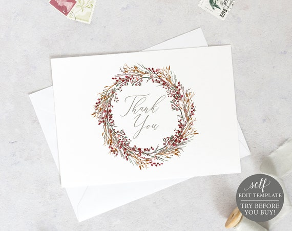 Thank You Card Template, TRY BEFORE You BUY, Instant Download, 100% Editable Wedding Printable, Folded