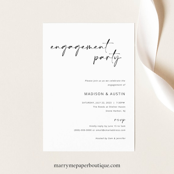 Engagement Party Invitation Template, Modern Minimalist, Handwritten Style, Engagement Party Invite, Printable, Templett INSTANT Download