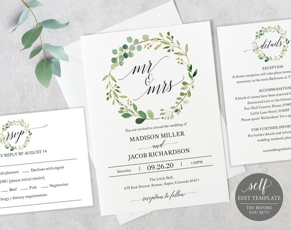 Greenery Wedding Invitation Set, Invitation Template, Printable Wedding Invitation, Editable Invitation, Instant Download