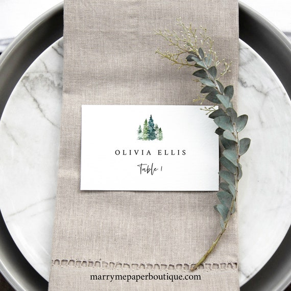 Pine Tree Place Card Template, Rustic Pine Forest, Printable Seating Card, Templett, Editable, INSTANT Download